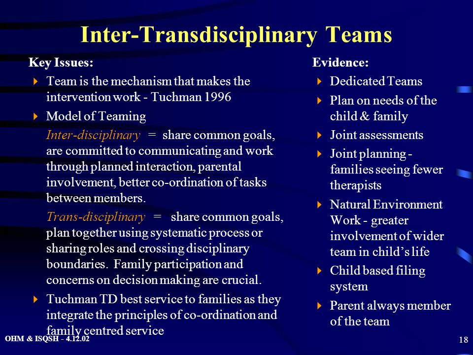 OHM & ISQSH - 4.12.02 18 Inter-Transdisciplinary Teams Key Issues:  Team is the mechanism that makes the intervention work - Tuchman 1996  Model of Teaming Inter-disciplinary = share common goals, are committed to communicating and work through planned interaction, parental involvement, better co-ordination of tasks between members.