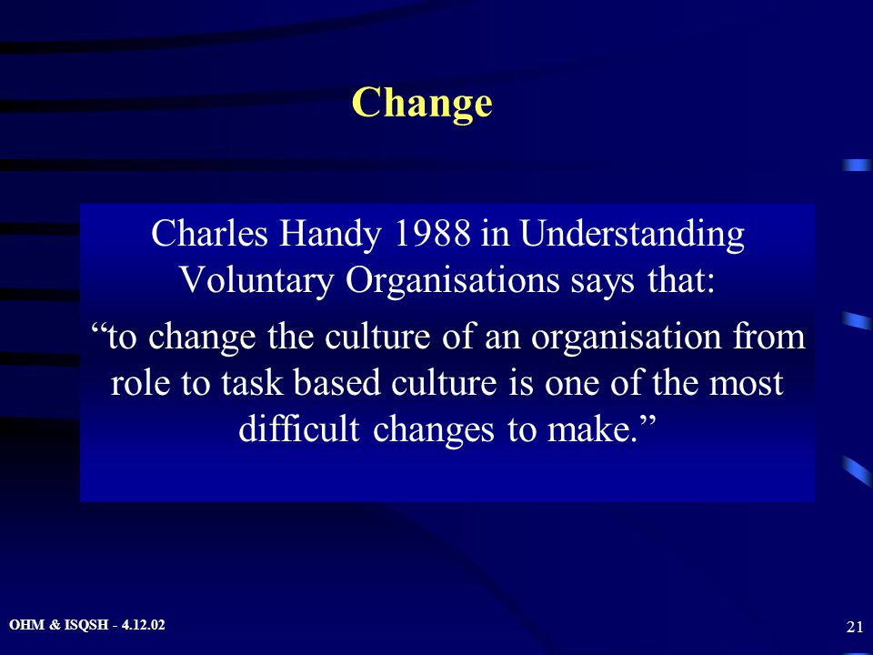 """OHM & ISQSH - 4.12.02 21 Change Charles Handy 1988 in Understanding Voluntary Organisations says that: """"to change the culture of an organisation from"""