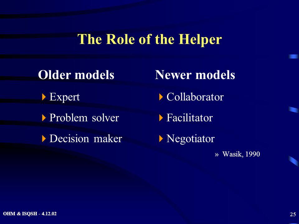 OHM & ISQSH - 4.12.02 25 The Role of the Helper Older models  Expert  Problem solver  Decision maker Newer models  Collaborator  Facilitator  Ne