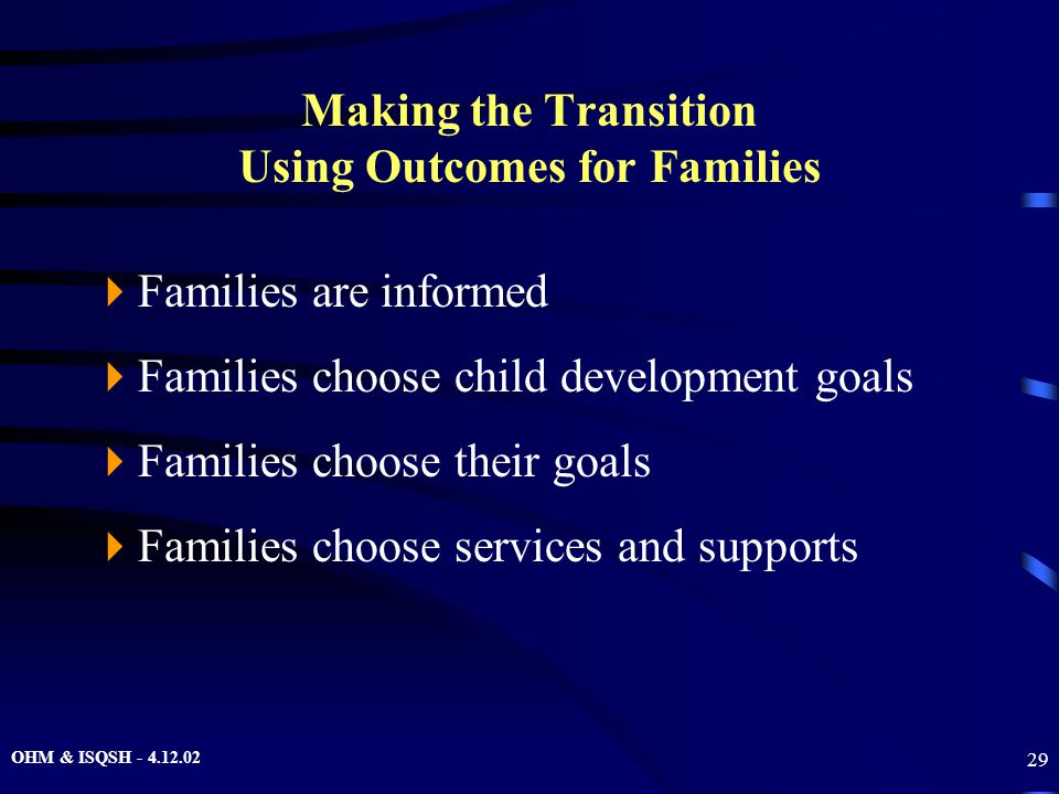 OHM & ISQSH - 4.12.02 29 Making the Transition Using Outcomes for Families  Families are informed  Families choose child development goals  Familie