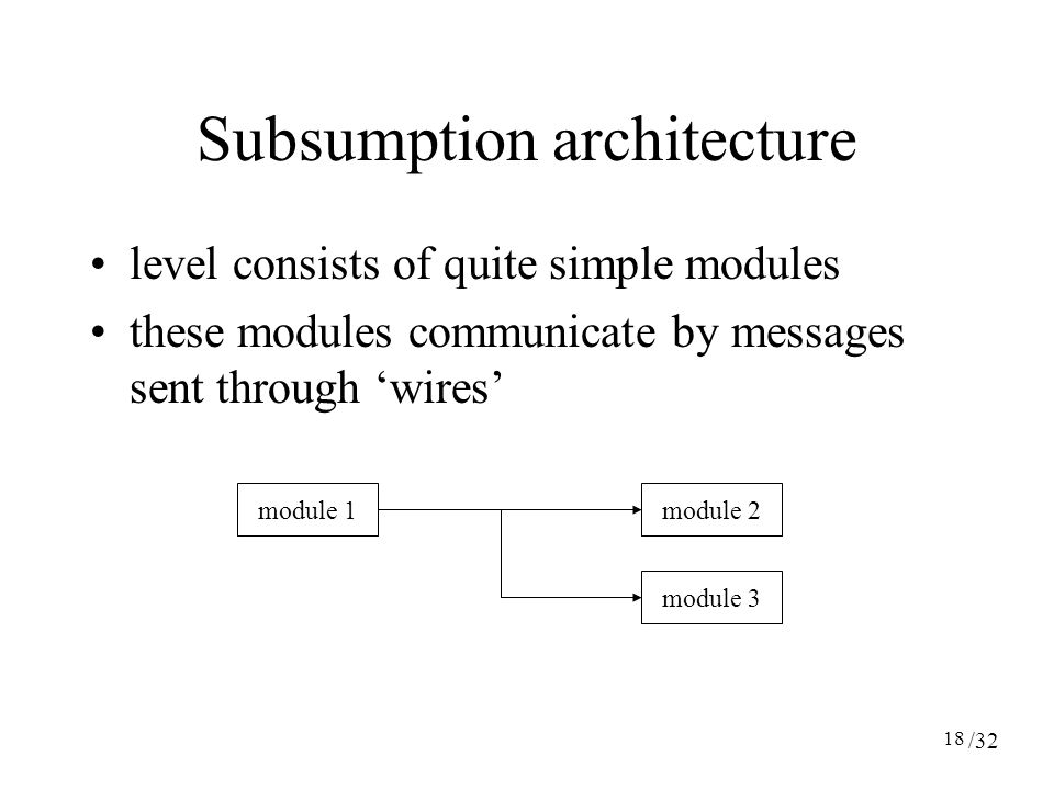 18 Subsumption architecture level consists of quite simple modules these modules communicate by messages sent through 'wires' module 2module 1 module 3 /32