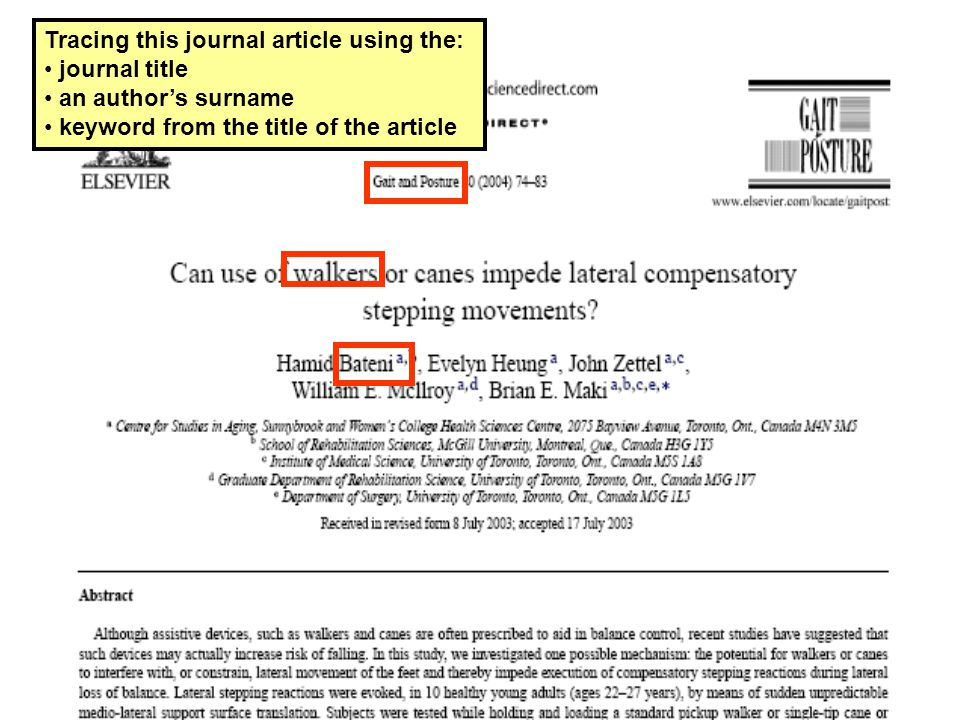 Tracing this journal article using the: journal title an author's surname keyword from the title of the article