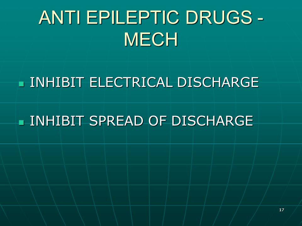 17 ANTI EPILEPTIC DRUGS - MECH INHIBIT ELECTRICAL DISCHARGE INHIBIT ELECTRICAL DISCHARGE INHIBIT SPREAD OF DISCHARGE INHIBIT SPREAD OF DISCHARGE