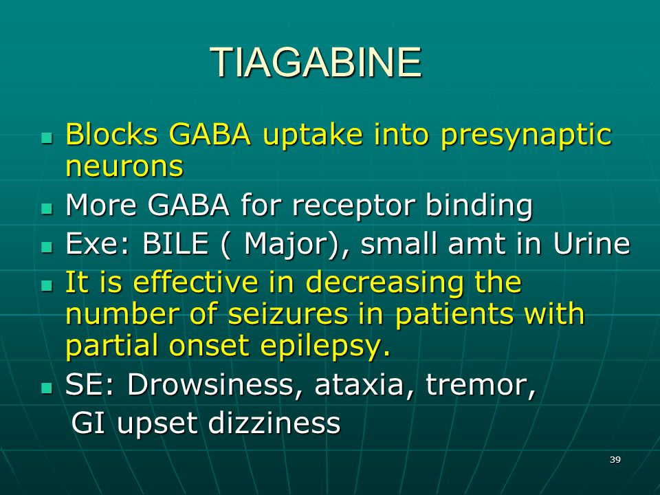 39 TIAGABINE TIAGABINE Blocks GABA uptake into presynaptic neurons Blocks GABA uptake into presynaptic neurons More GABA for receptor binding More GABA for receptor binding Exe: BILE ( Major), small amt in Urine Exe: BILE ( Major), small amt in Urine It is effective in decreasing the number of seizures in patients with partial onset epilepsy.