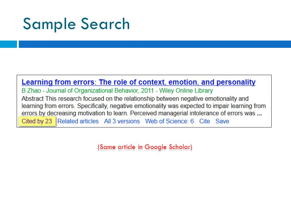 Sample Search (Same article in Google Scholar)
