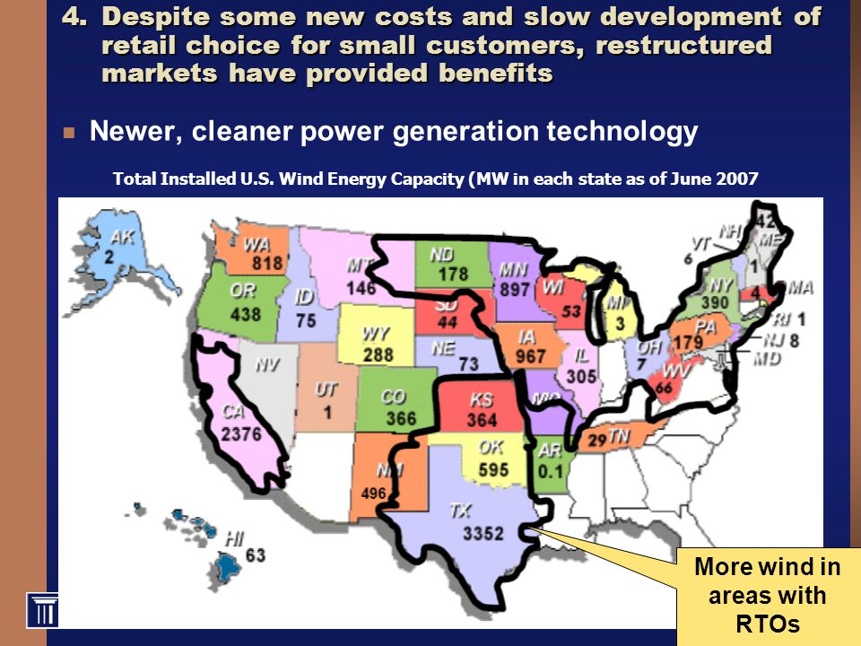 22 4.Despite some new costs and slow development of retail choice for small customers, restructured markets have provided benefits Newer, cleaner power generation technology Total Installed U.S.