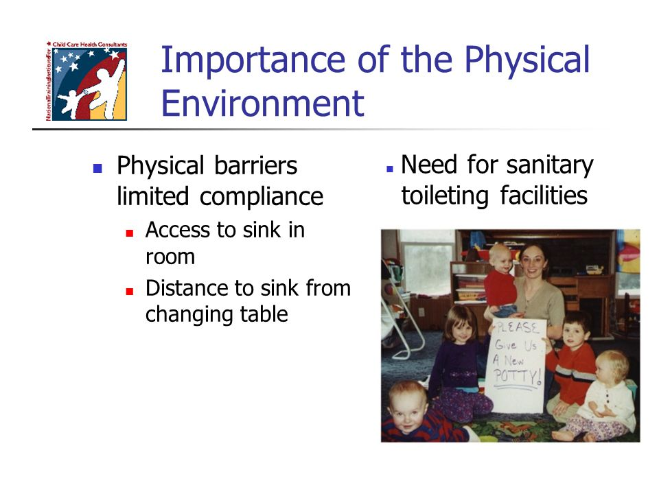 Importance of the Physical Environment Physical barriers limited compliance Access to sink in room Distance to sink from changing table Need for sanit