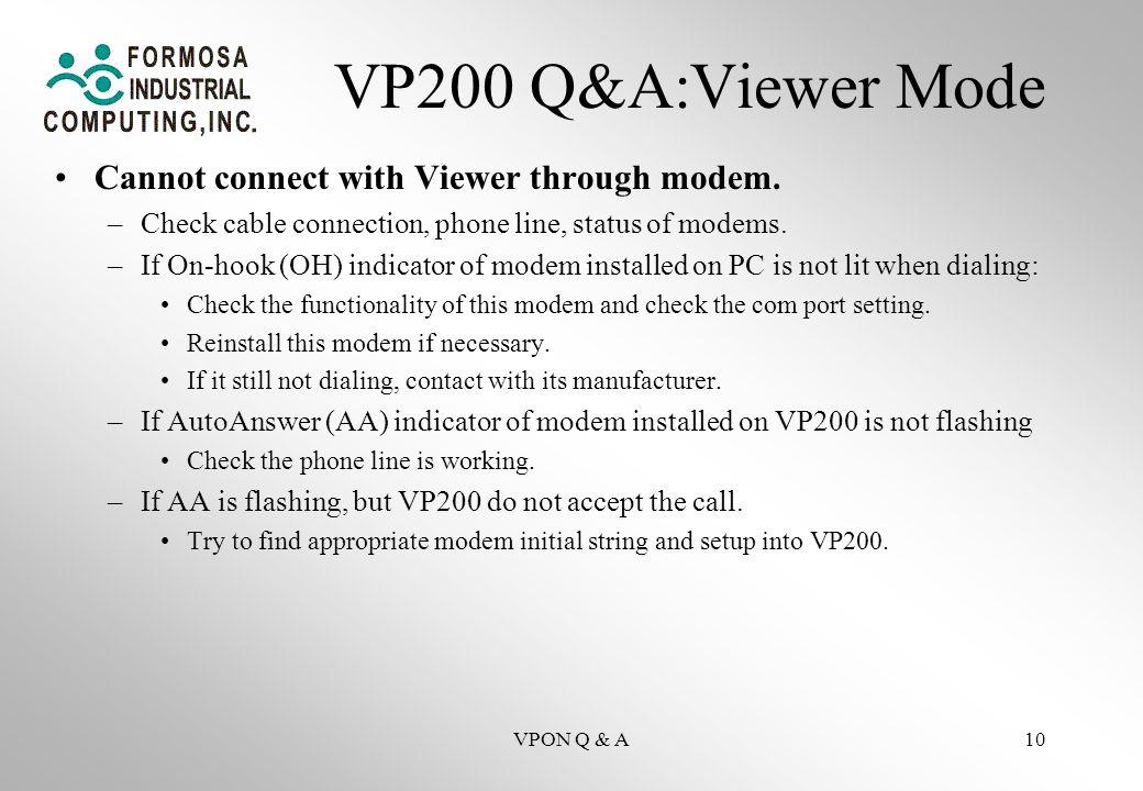 VPON Q & A10 VP200 Q&A:Viewer Mode Cannot connect with Viewer through modem.