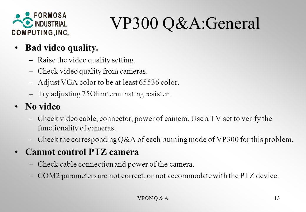 VPON Q & A13 VP300 Q&A:General Bad video quality. –Raise the video quality setting.