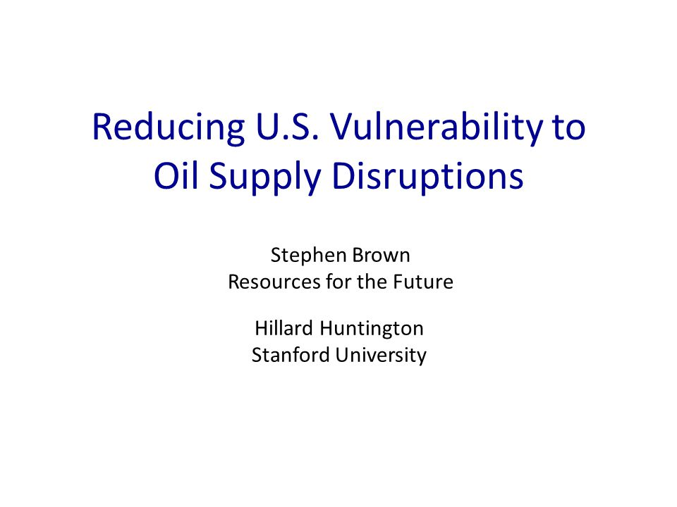 Overview Wellbeing  Oil Security Increased oil consumption as a security externality – Does one consumer's use of an unstable supply increase the likelihood or size of a disruption.