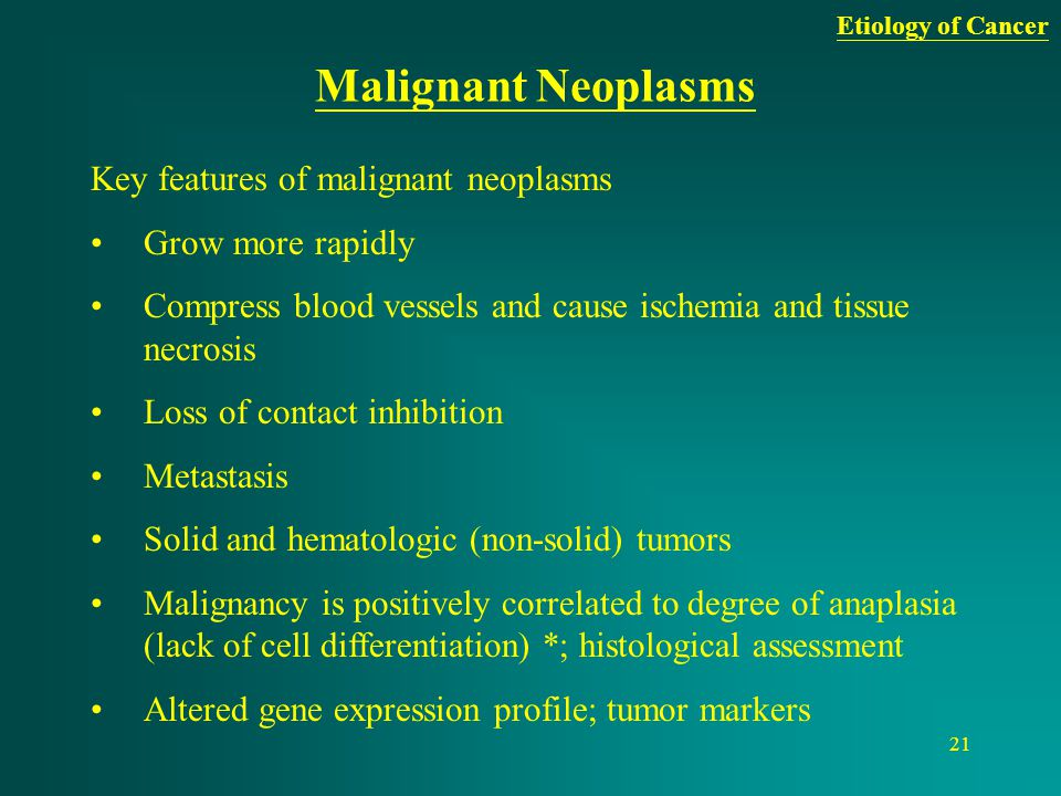 21 Malignant Neoplasms Key features of malignant neoplasms Grow more rapidly Compress blood vessels and cause ischemia and tissue necrosis Loss of con