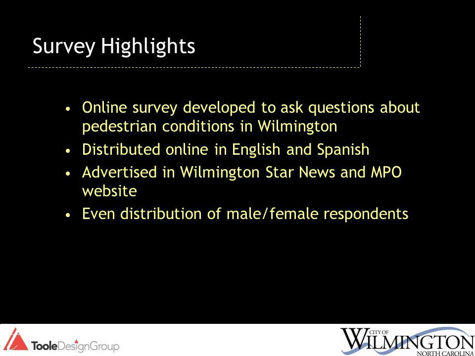 Survey Highlights Online survey developed to ask questions about pedestrian conditions in Wilmington Distributed online in English and Spanish Adverti