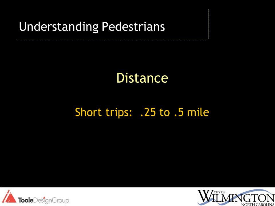 Distance Short trips:.25 to.5 mile Understanding Pedestrians