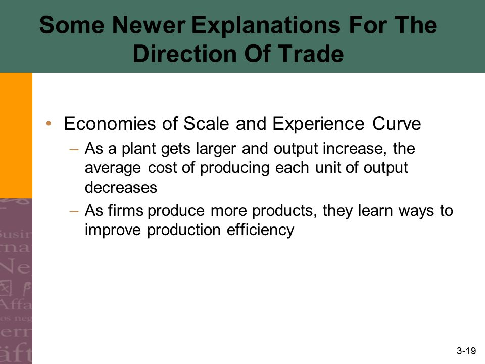 3-19 Some Newer Explanations For The Direction Of Trade Economies of Scale and Experience Curve –As a plant gets larger and output increase, the avera