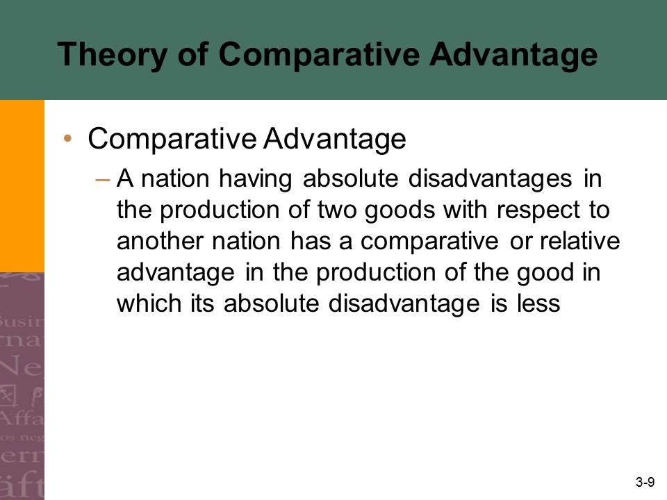 3-9 Theory of Comparative Advantage Comparative Advantage –A nation having absolute disadvantages in the production of two goods with respect to anoth
