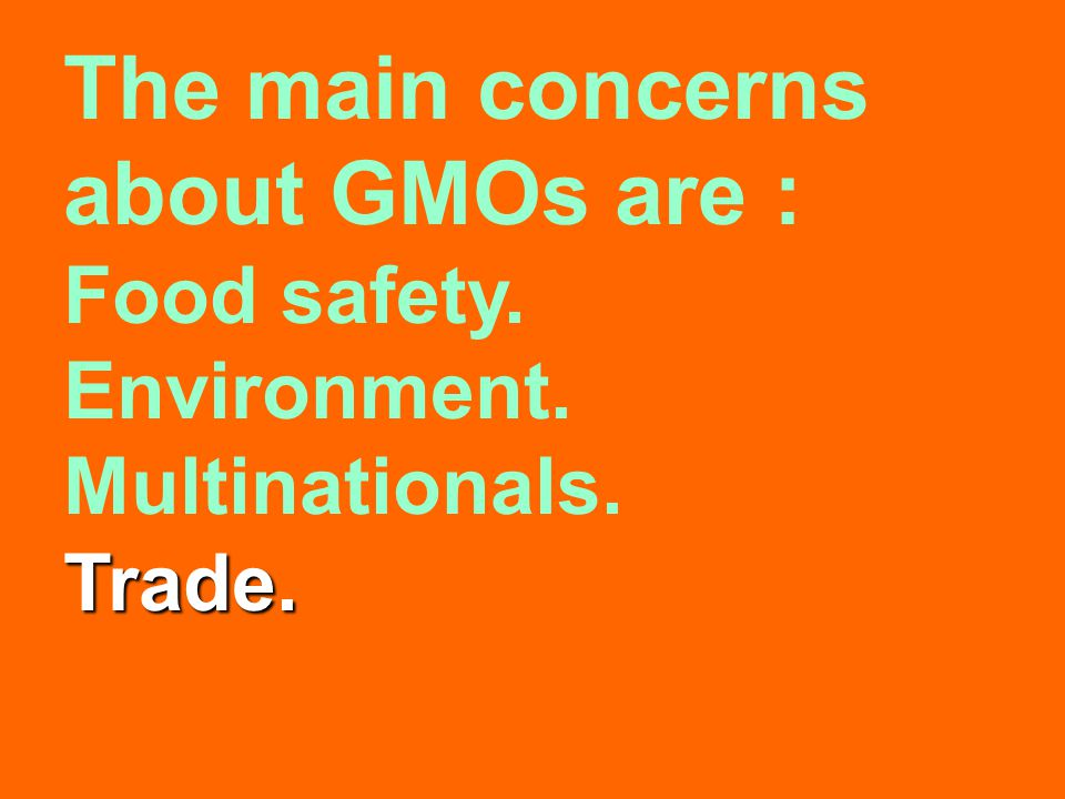 The main concerns about GMOs are : Food safety. Environment. Multinationals.Trade.