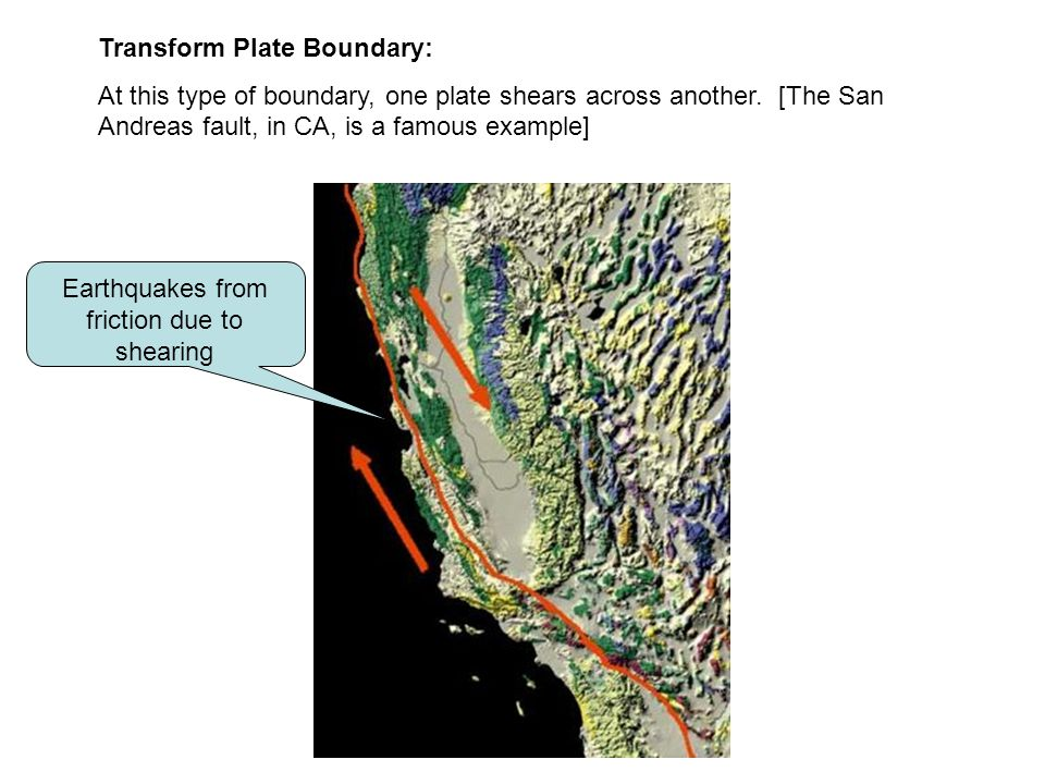 Transform Plate Boundary: At this type of boundary, one plate shears across another. [The San Andreas fault, in CA, is a famous example] Earthquakes f