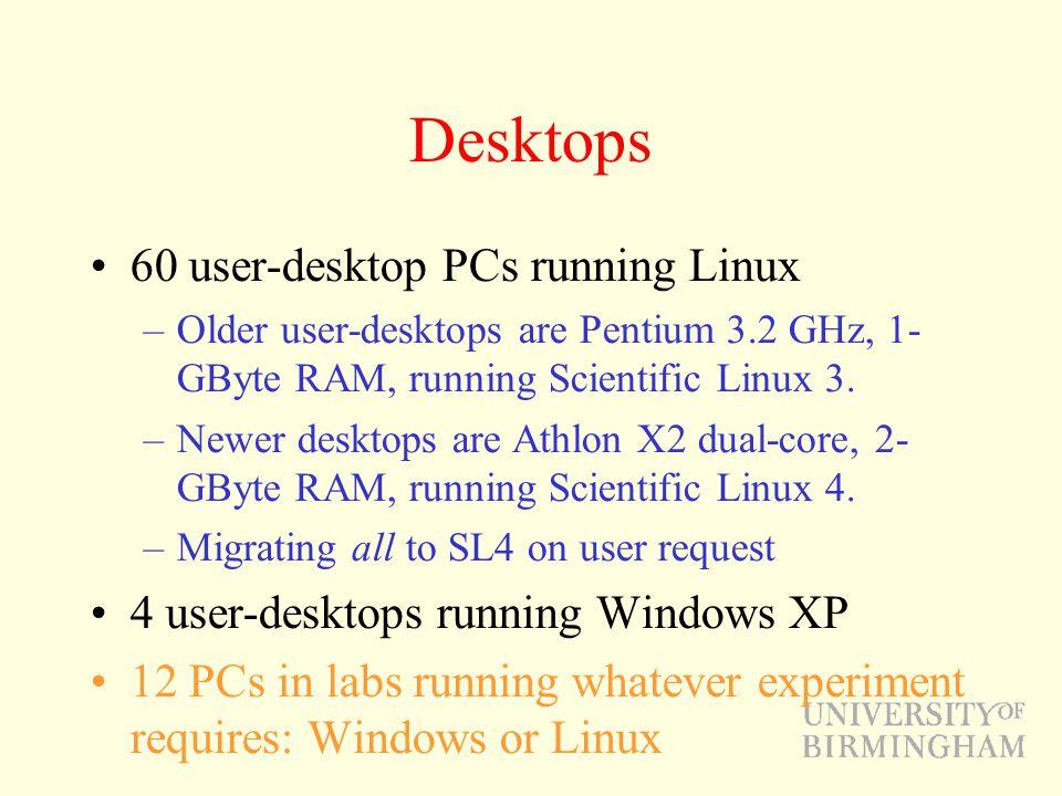 Desktops 60 user-desktop PCs running Linux –Older user-desktops are Pentium 3.2 GHz, 1- GByte RAM, running Scientific Linux 3.