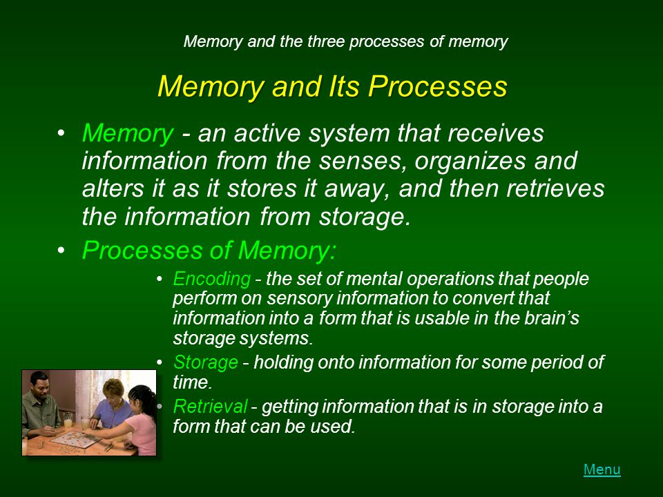 Models of Memory Information-processing model - model of memory that assumes the processing of information for memory storage is similar to the way a computer processes memory in a series of three stages.