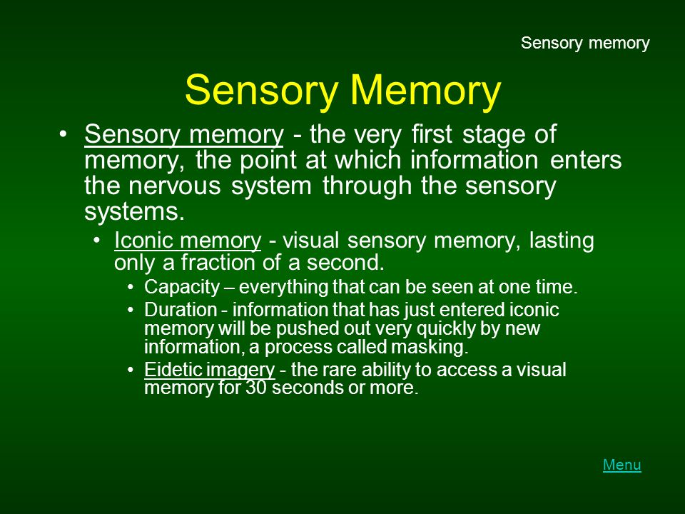 Recall Serial position effect - tendency of information at the beginning and end of a body of information to be remembered more accurately than information in the middle of the body of information.