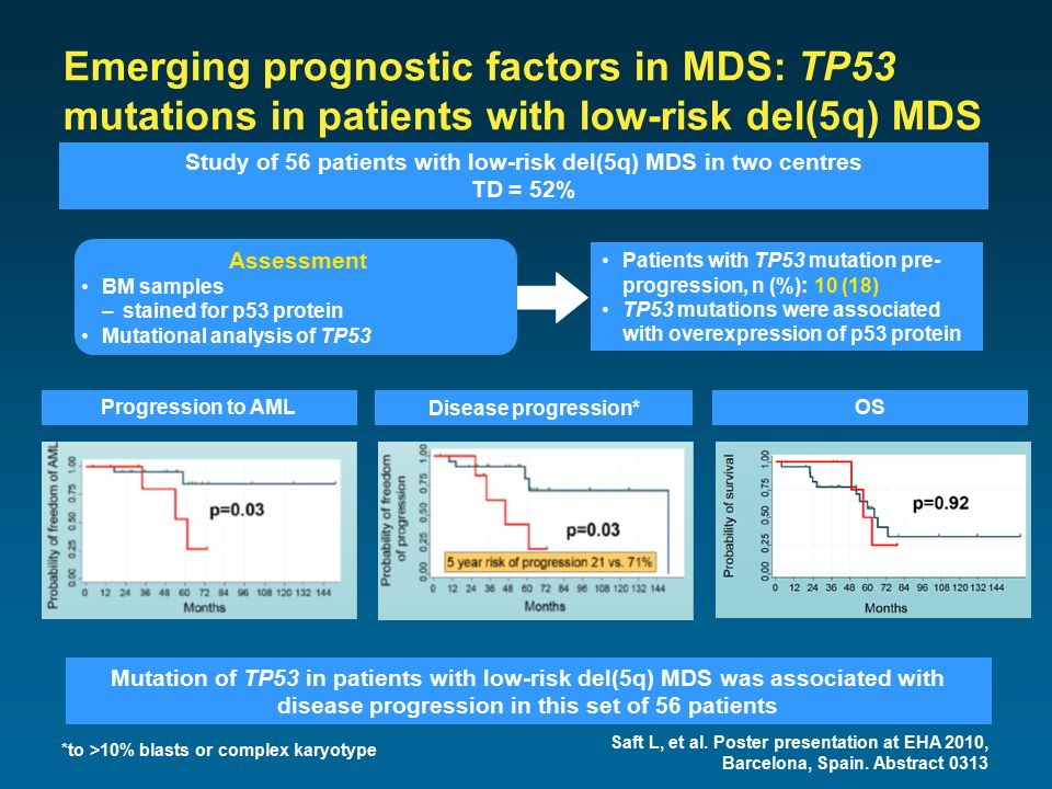 Emerging prognostic factors in MDS: TP53 mutations in patients with low-risk del(5q) MDS Saft L, et al.