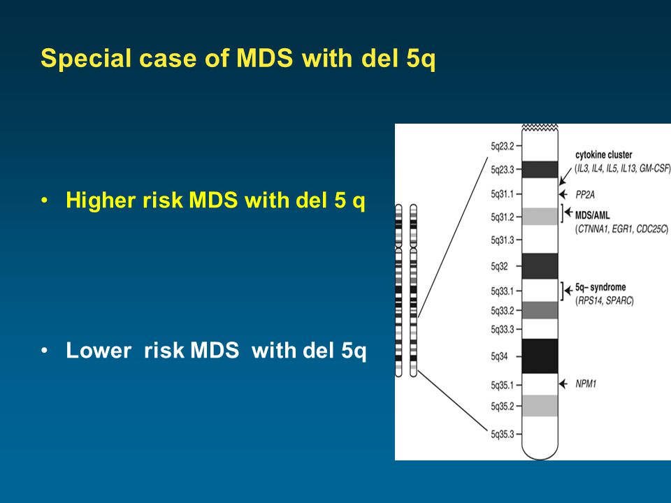 Special case of MDS with del 5q Higher risk MDS with del 5 q Lower risk MDS with del 5q