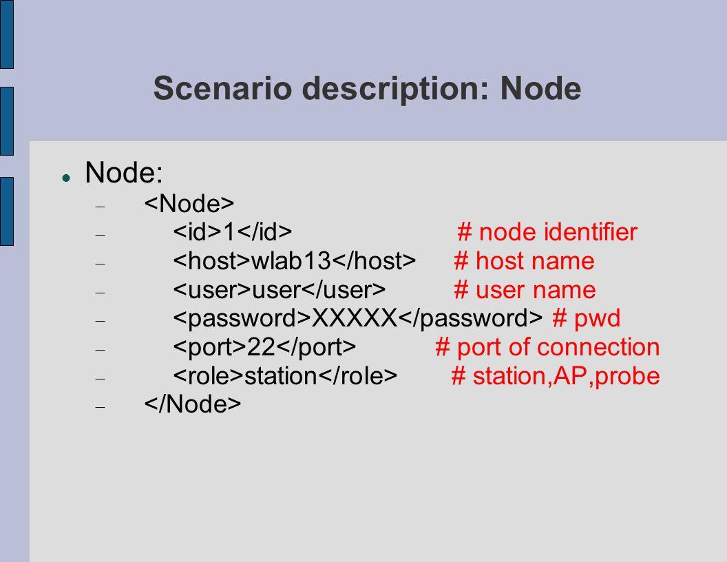 Scenario description: Node Node:   1 # node identifier  wlab13 # host name  user # user name  XXXXX # pwd  22 # port of connection  station # station,AP,probe 