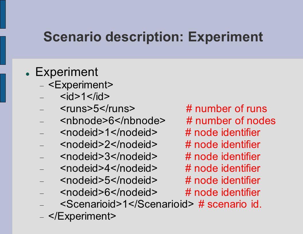 Scenario description: Experiment Experiment   1  5 # number of runs  6 # number of nodes  1 # node identifier  2 # node identifier  3 # node id