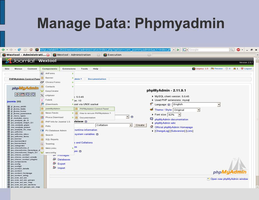 Manage Data: Phpmyadmin