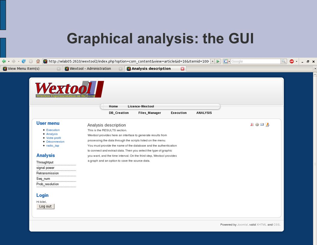 Graphical analysis: the GUI