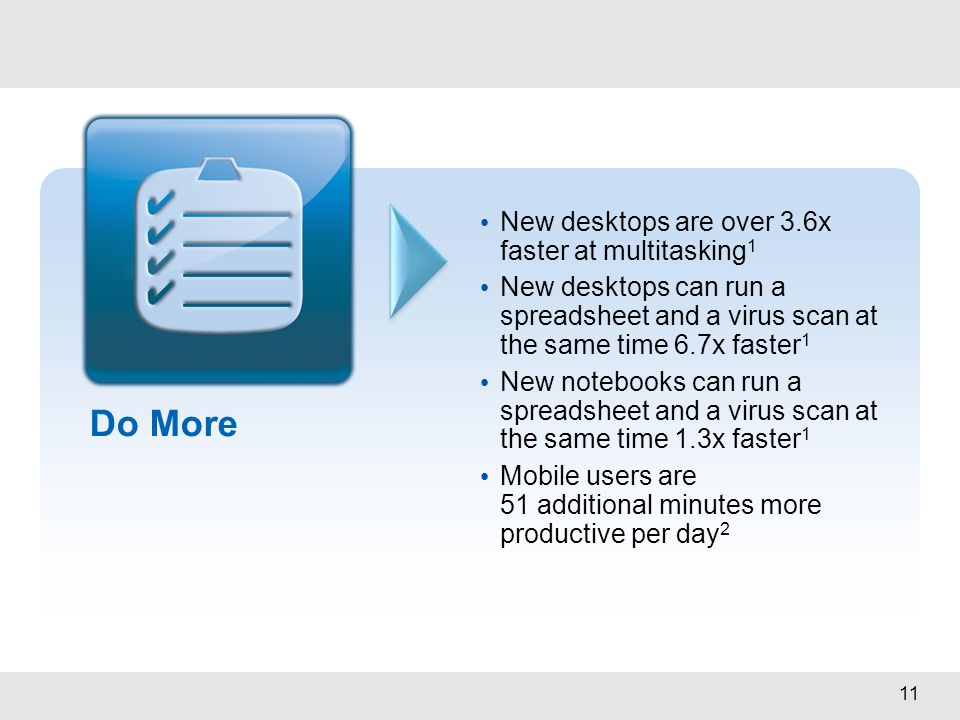 11 Do More New desktops are over 3.6x faster at multitasking 1 New desktops can run a spreadsheet and a virus scan at the same time 6.7x faster 1 New
