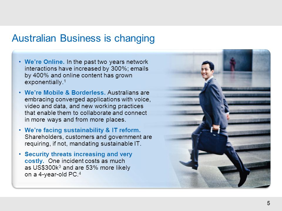 5 Australian Business is changing We're Online. In the past two years network interactions have increased by 300%; emails by 400% and online content h