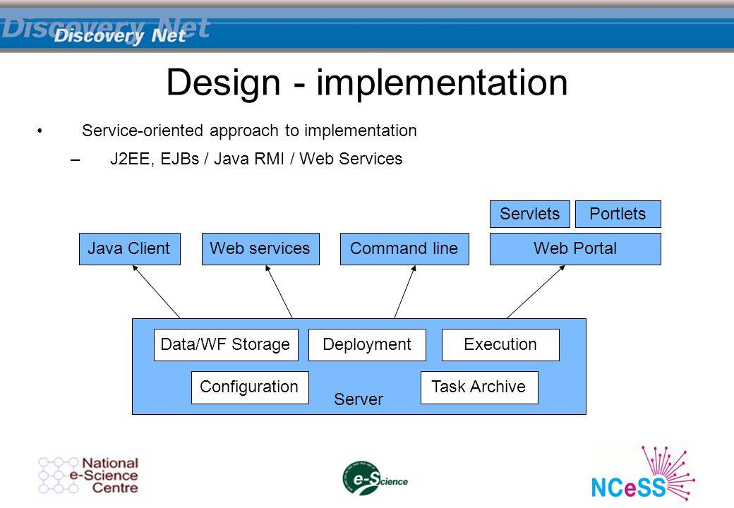 Design - implementation Service-oriented approach to implementation –J2EE, EJBs / Java RMI / Web Services Server Configuration DeploymentExecution Task Archive Data/WF Storage Java Client ServletsPortlets Web services Command line Web Portal