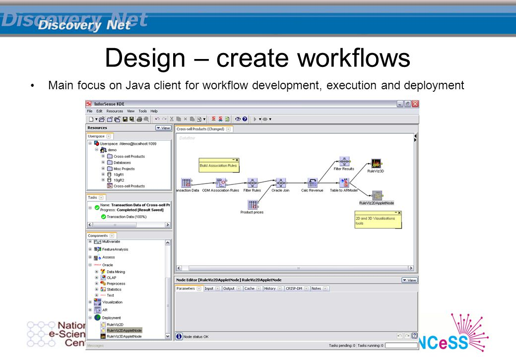 Main focus on Java client for workflow development, execution and deployment Design – create workflows