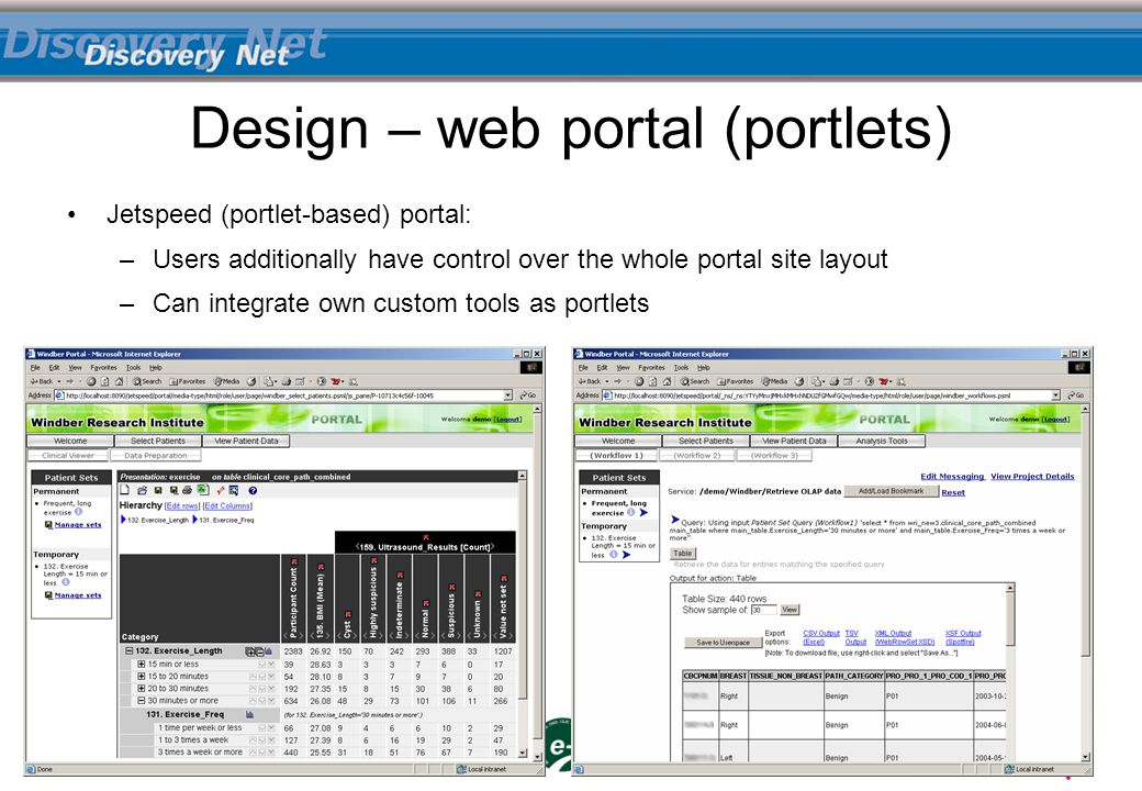 Jetspeed (portlet-based) portal: –Users additionally have control over the whole portal site layout –Can integrate own custom tools as portlets Design – web portal (portlets)