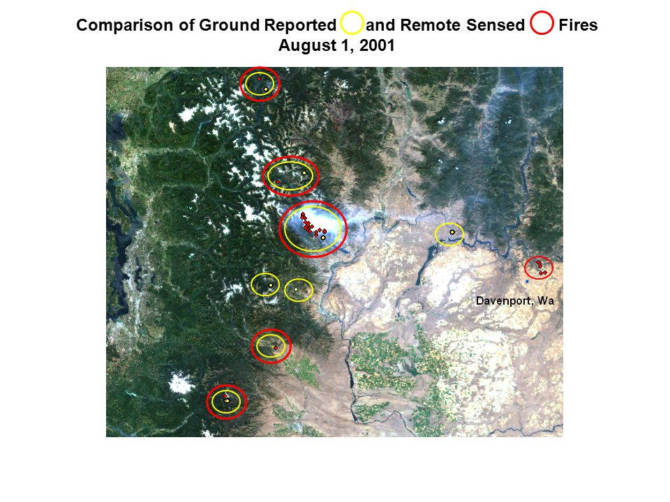 Comparison of Ground Reported and Remote Sensed Fires August 1, 2001