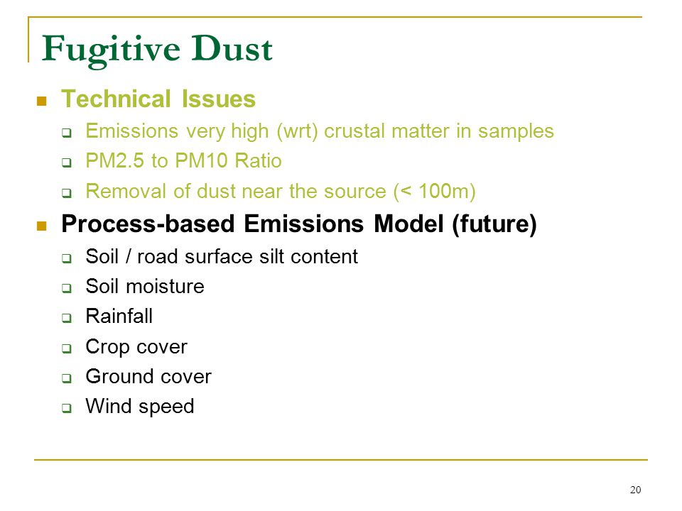 20 Fugitive Dust Technical Issues  Emissions very high (wrt) crustal matter in samples  PM2.5 to PM10 Ratio  Removal of dust near the source (< 100m) Process-based Emissions Model (future)  Soil / road surface silt content  Soil moisture  Rainfall  Crop cover  Ground cover  Wind speed
