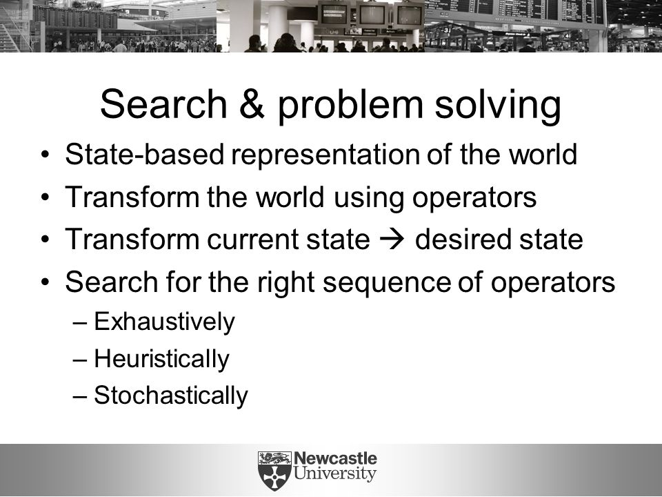 Search & problem solving State-based representation of the world Transform the world using operators Transform current state  desired state Search fo