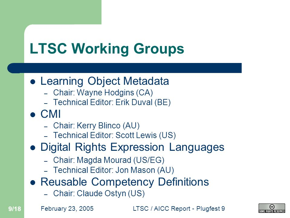 February 23, 2005LTSC / AICC Report - Plugfest 9 9/18 LTSC Working Groups Learning Object Metadata – Chair: Wayne Hodgins (CA) – Technical Editor: Erik Duval (BE) CMI – Chair: Kerry Blinco (AU) – Technical Editor: Scott Lewis (US) Digital Rights Expression Languages – Chair: Magda Mourad (US/EG) – Technical Editor: Jon Mason (AU) Reusable Competency Definitions – Chair: Claude Ostyn (US)