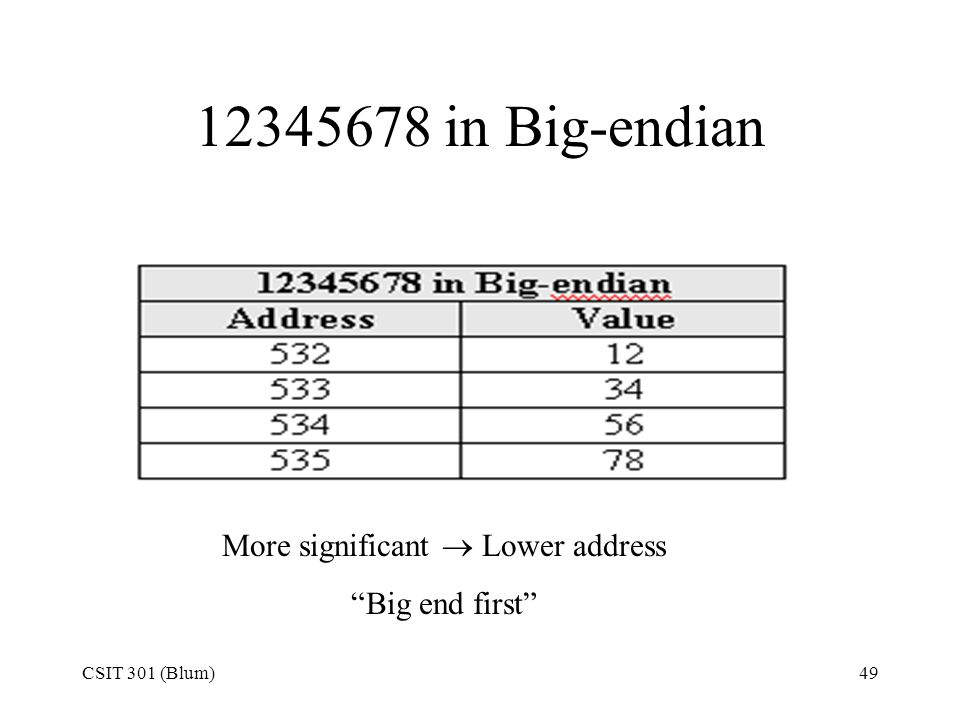 "CSIT 301 (Blum)49 12345678 in Big-endian More significant  Lower address ""Big end first"""