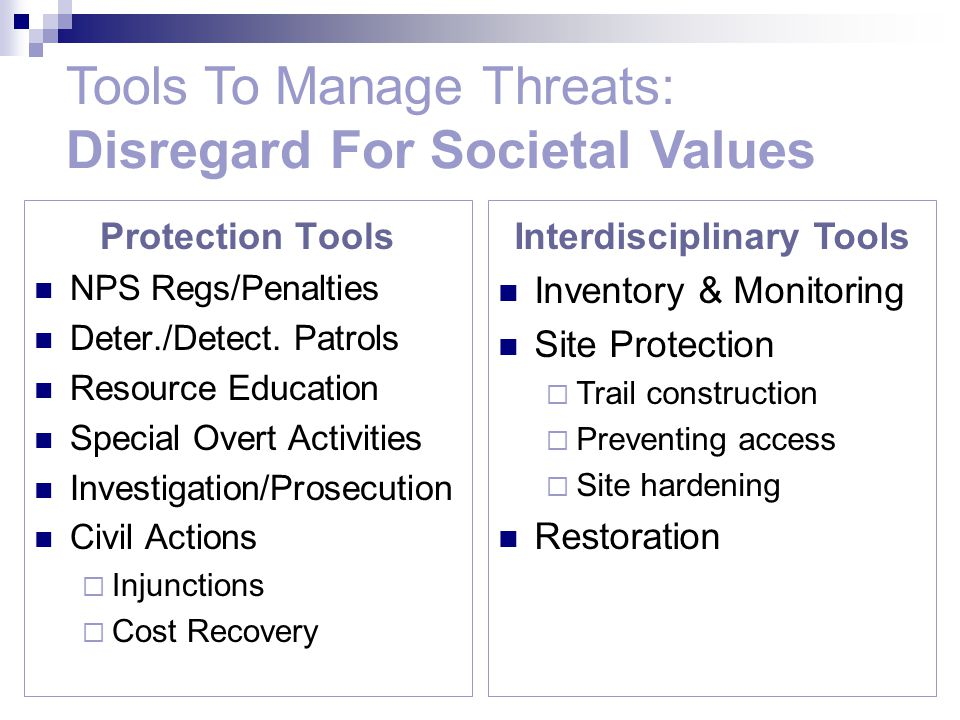 Tools To Manage Threats: Disregard For Societal Values Interdisciplinary Tools Inventory & Monitoring Site Protection  Trail construction  Preventing access  Site hardening Restoration Protection Tools NPS Regs/Penalties Deter./Detect.