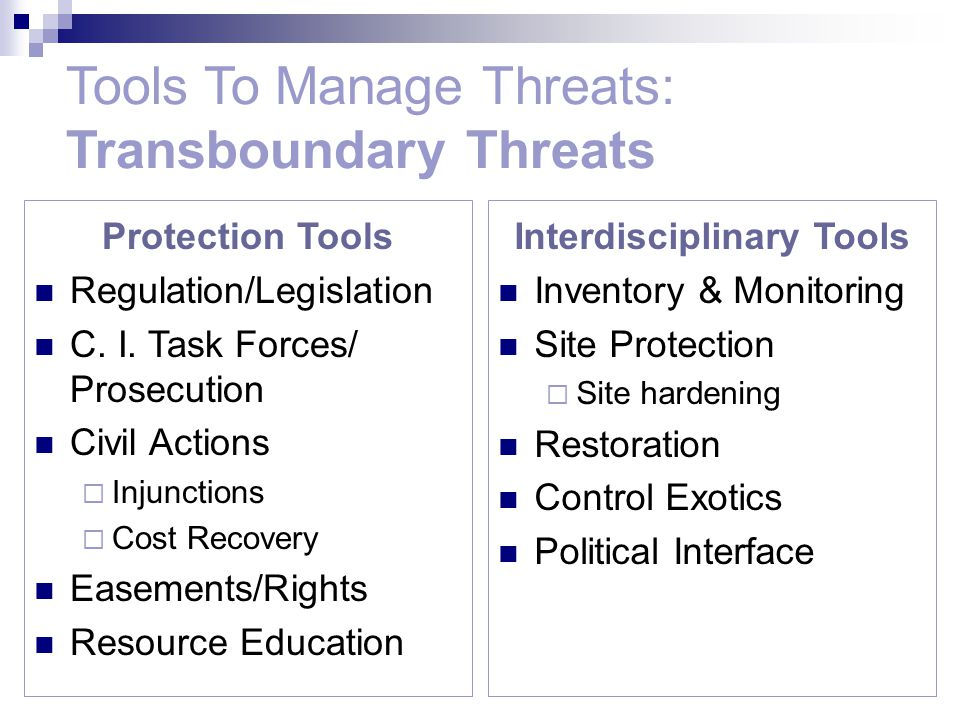 Protection Tools Regulation/Legislation C. I. Task Forces/ Prosecution Civil Actions  Injunctions  Cost Recovery Easements/Rights Resource Education