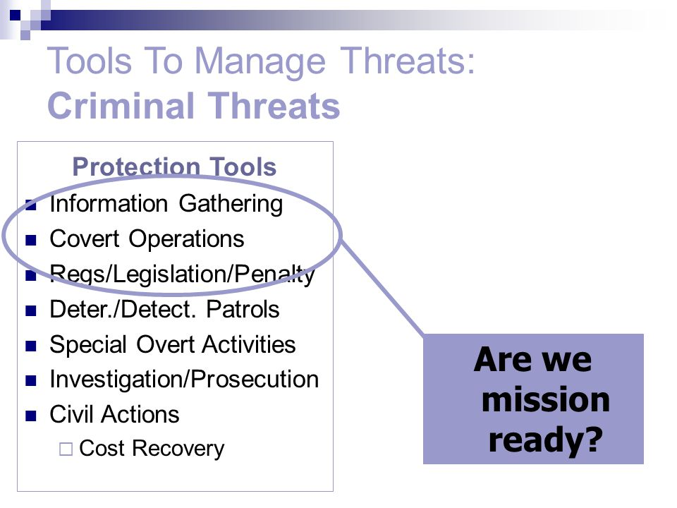 Protection Tools Information Gathering Covert Operations Regs/Legislation/Penalty Deter./Detect.