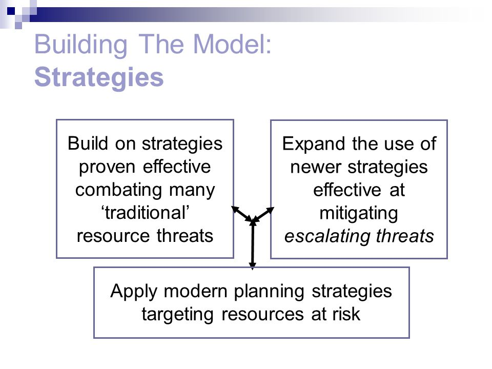 Expand the use of newer strategies effective at mitigating escalating threats Build on strategies proven effective combating many 'traditional' resource threats Apply modern planning strategies targeting resources at risk Building The Model: Strategies