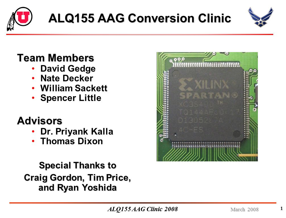 March 2008 ALQ155 AAG Clinic 2008 Problem: Power Failure Problem: After loading the FPGA, the USB chip would sometimes lose its data Cause: A bank of capacitors was drawing power Solution: Introduce delays into the power-up sequence
