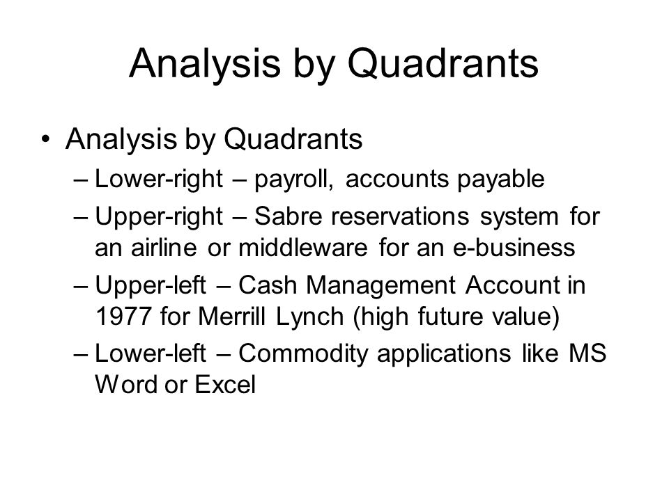 Analysis by Quadrants –Lower-right – payroll, accounts payable –Upper-right – Sabre reservations system for an airline or middleware for an e-business –Upper-left – Cash Management Account in 1977 for Merrill Lynch (high future value) –Lower-left – Commodity applications like MS Word or Excel