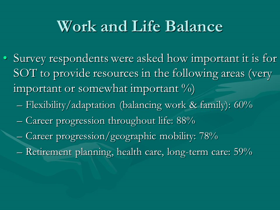 Work and Life Balance Survey respondents were asked how important it is for SOT to provide resources in the following areas (very important or somewhat important %)Survey respondents were asked how important it is for SOT to provide resources in the following areas (very important or somewhat important %) –Flexibility/adaptation (balancing work & family): 60% –Career progression throughout life: 88% –Career progression/geographic mobility: 78% –Retirement planning, health care, long-term care: 59%