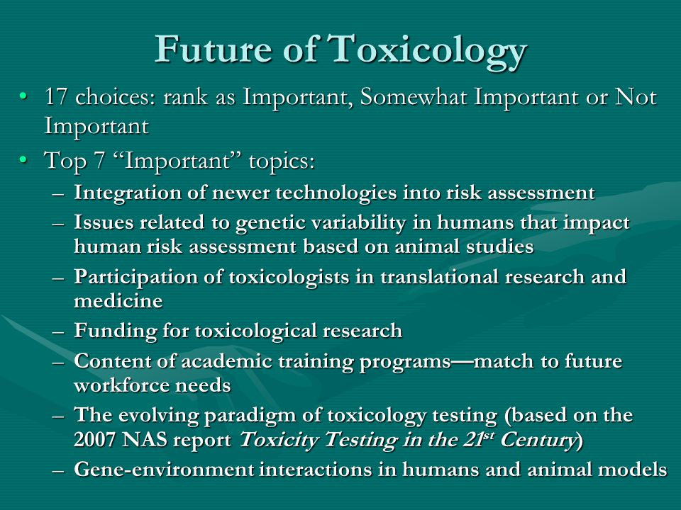 Future of Toxicology 17 choices: rank as Important, Somewhat Important or Not Important17 choices: rank as Important, Somewhat Important or Not Important Top 7 Important topics:Top 7 Important topics: –Integration of newer technologies into risk assessment –Issues related to genetic variability in humans that impact human risk assessment based on animal studies –Participation of toxicologists in translational research and medicine –Funding for toxicological research –Content of academic training programs—match to future workforce needs –The evolving paradigm of toxicology testing (based on the 2007 NAS report Toxicity Testing in the 21 st Century) –Gene-environment interactions in humans and animal models