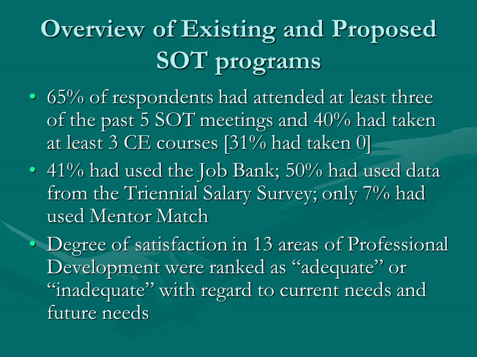Overview of Existing and Proposed SOT programs 65% of respondents had attended at least three of the past 5 SOT meetings and 40% had taken at least 3 CE courses [31% had taken 0]65% of respondents had attended at least three of the past 5 SOT meetings and 40% had taken at least 3 CE courses [31% had taken 0] 41% had used the Job Bank; 50% had used data from the Triennial Salary Survey; only 7% had used Mentor Match41% had used the Job Bank; 50% had used data from the Triennial Salary Survey; only 7% had used Mentor Match Degree of satisfaction in 13 areas of Professional Development were ranked as adequate or inadequate with regard to current needs and future needsDegree of satisfaction in 13 areas of Professional Development were ranked as adequate or inadequate with regard to current needs and future needs