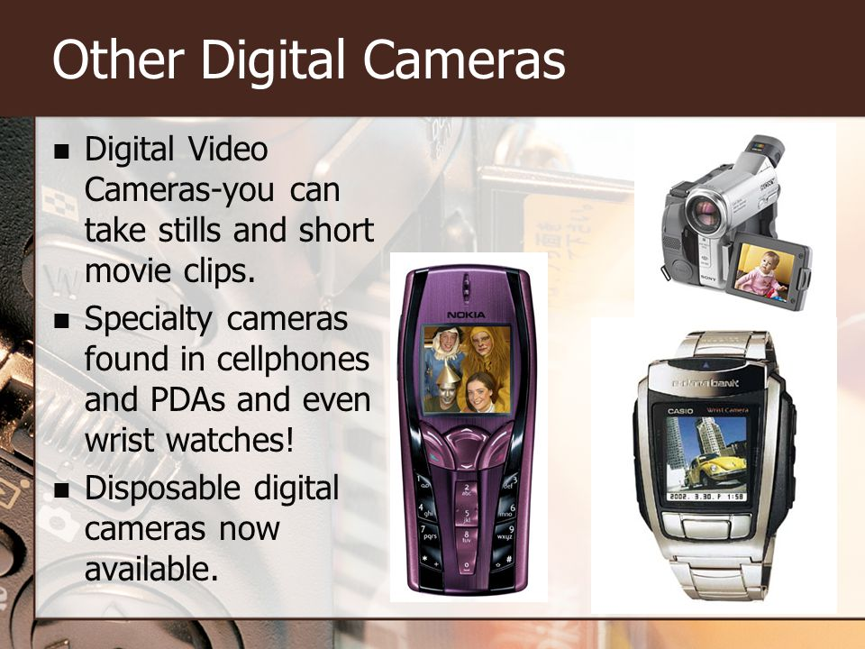 Other Digital Cameras Digital Video Cameras-you can take stills and short movie clips.